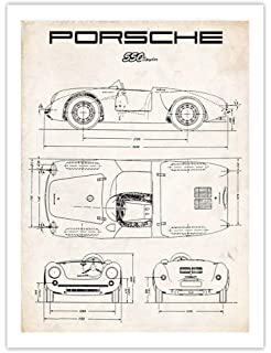 Porsche 550 Spyder Poster, 1953 Vintage Racing Car Art Print, 18x24 in, Matte