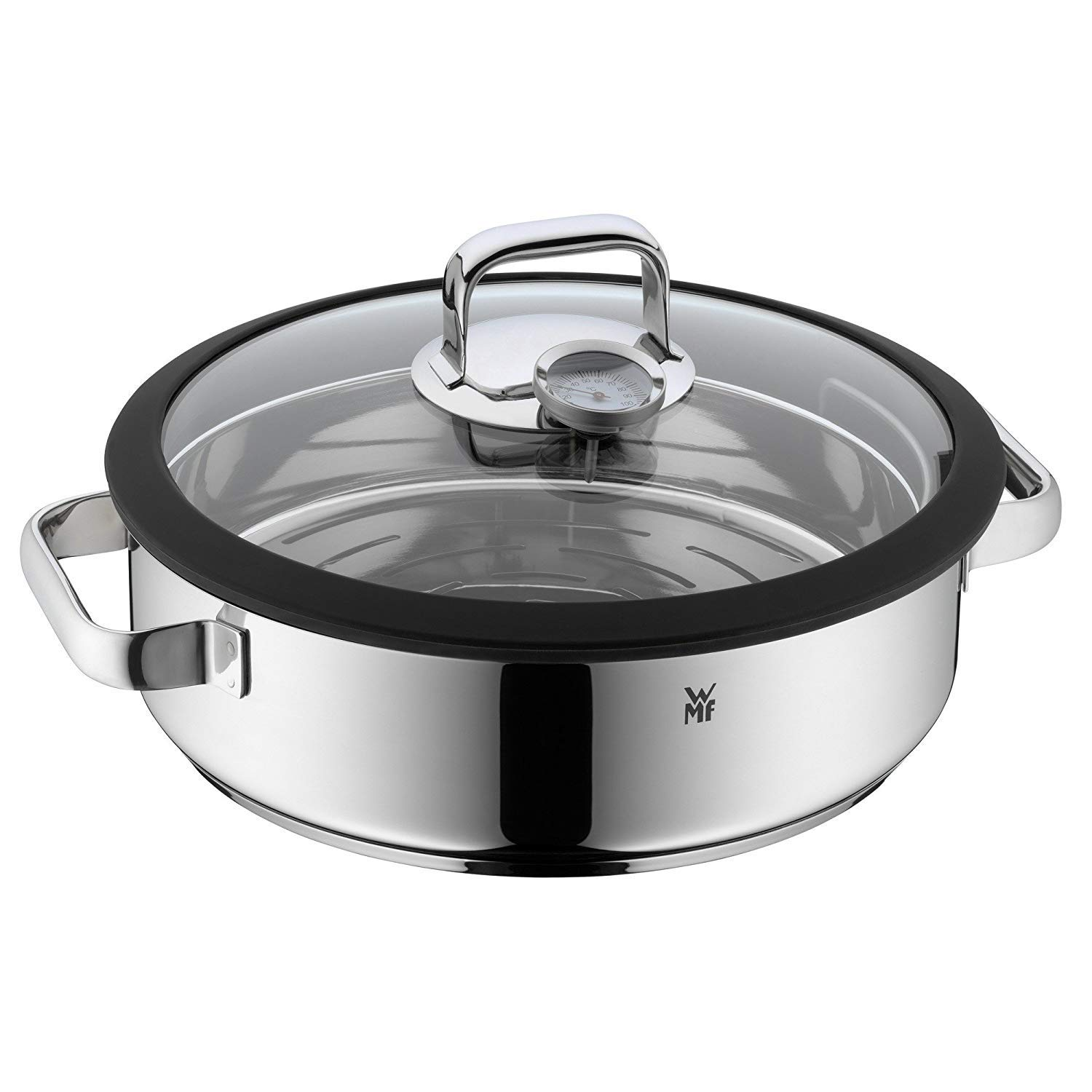 WMF Vitalis Steamer Diameter 28 cm Height Approximately 5L Polished Stainless Steel/Glass Lid with Silicone Rim and Thermometer Garblech Cromargan Dishwasher-Safe Suitable for Induction Cookers