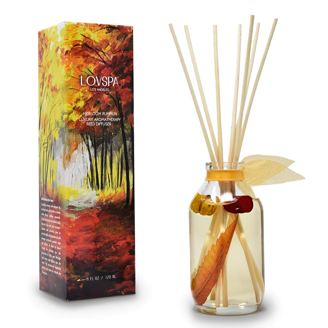 LOVSPA Heirloom Pumpkin Reed Diffuser Sticks Set with Cinnamon, Nutmeg, Warm Clove & Creamy Vanilla, Mini Pumpkin Pods and Fall Leaves Inside The Bottle, Comforting Scent for Autumn by LOVSPA