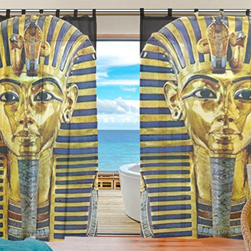 Ancient Egyptian Decor - INGBAGS Bedroom Decor Living Room Decorations Retro Ancient Egyptian Art Pattern Print Tulle Polyester Door Window Gauze / Sheer Curtain Drape Two Panels Set 55x78 inch ,Set of 2