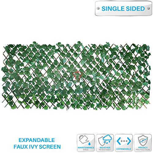Patio Paradise 15'' x 48'' Faux Ivy Privacy Fence Screen with Expand Retractable Panel-Artificial Leaf Vine Hedge Outdoor Decor-Garden Backyard Decoration Panels Fence Cover by Patio Paradise