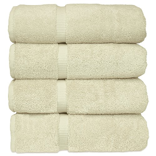 Chakir Turkish Linens Turkish Cotton Luxury Hotel & Spa Bath Towel, Bath Towel – Set of 4, Cream