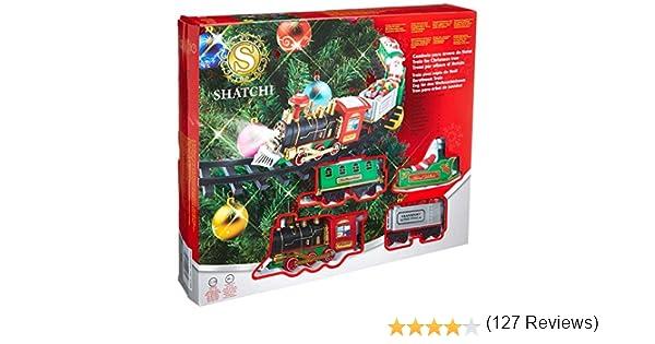 SHATCHI Juego de Tren de Navidad Alrededor del árbol de Navidad ...
