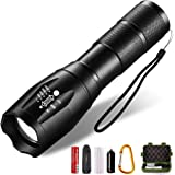 LED Tactical Flashlight Portable Handheld Flashlights Adjustable Focus 5 Light Modes High Lumen (18650 Battery and Charger Included) for Emergency & Camping Hiking & Outdoor Activities