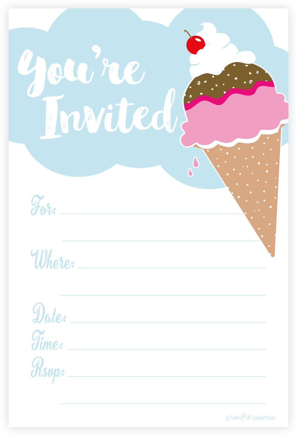Amazon.com: Ice Cream Party Invitations - Fill In Style (20 Count ...