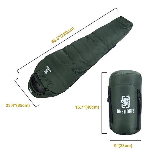 onetigris Saco de dormir plumas de pato momia saco de dormir, Armee Grün: Amazon.es: Deportes y aire libre