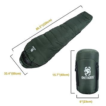 OneTigris invierno saco de dormir, Camping momia bolsa, ultraligero, impermeable con bolsa para Trekking, senderismo, senderismo, viajar, llenar Cantidad ...