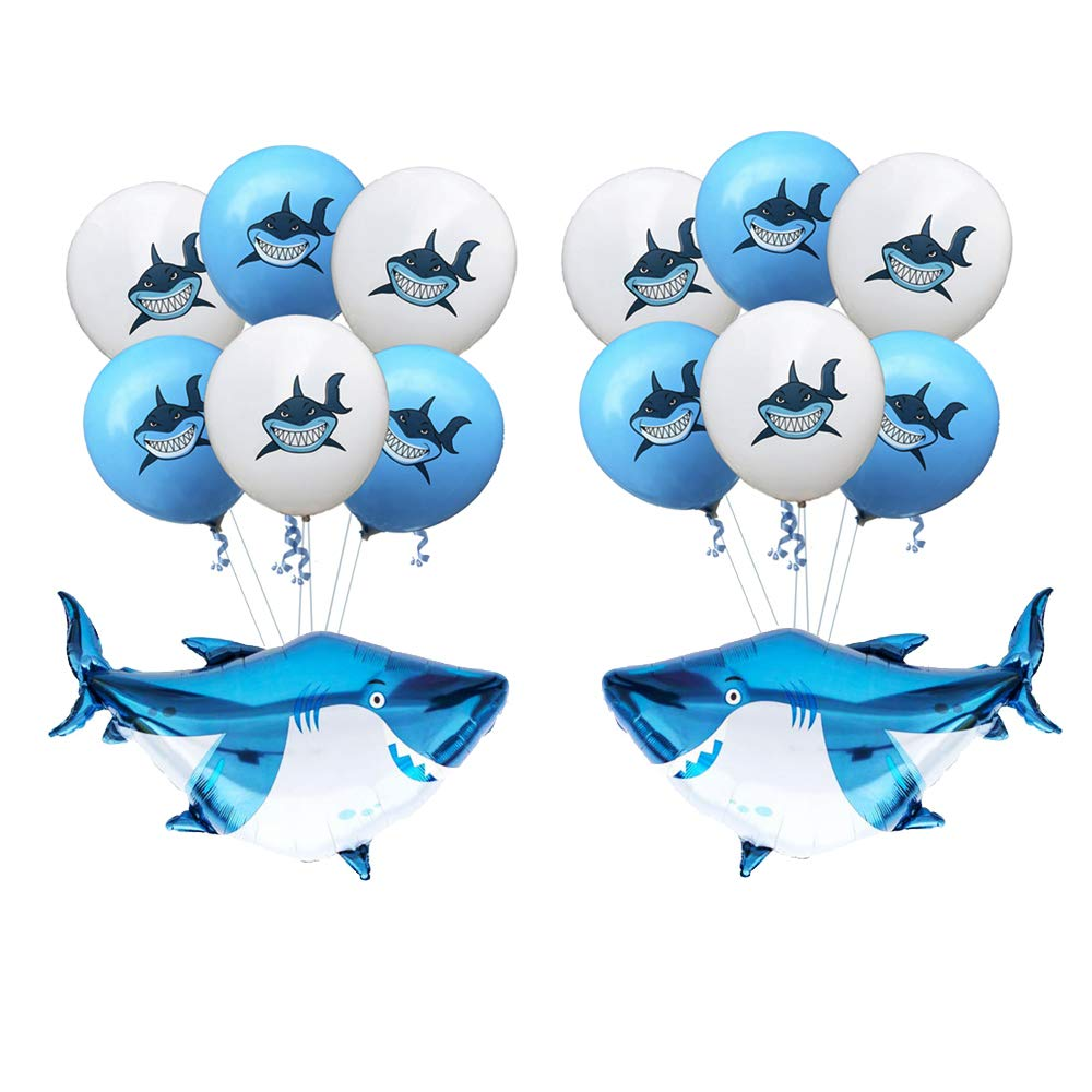 "SAKOLLA 12"" Large Latex Baby Shark Balloons with Shark Mylar Balloons, Baby Room Décor/Under The Sea/Pool/Beach/Kids Sea Shark Theme Birthday Party Baby Shower Decorations Supplies (Set of 14)"