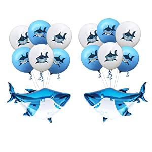 "SAKOLLA 12"" Large Latex Baby Shark Balloons with Shark Mylar Balloons, Baby Room Décor/Under The Sea/Pool/Beach/Kids Sea Shark Theme Birthday Party Baby Shower Decorations Supplies (Set of 14)"
