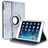 TNP Apple iPad 2/3/4 Case (Damask Blue)- 360 Degree Rotating Stand Cover PU Leather For iPad 4th Generation with Retina Display, the New iPad 3 & iPad 2 with Auto Sleep Wake Feature & Stylus Holder