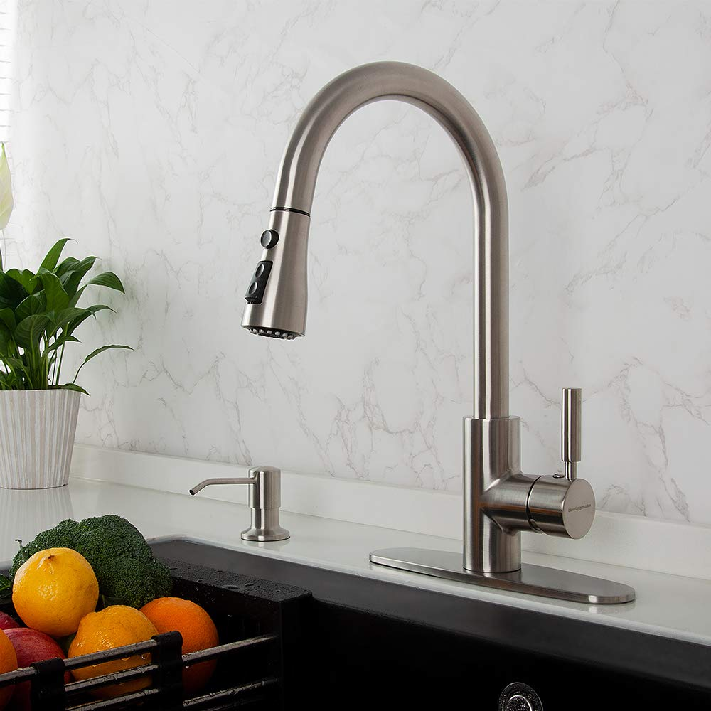 Houtingmaan Brushed Nickel Single Handle Kitchen Faucets with Pull Down Sprayer, High Arc Pull Out Kitchen Sink Faucet with Deck Plate, 3 Functions, cUPC/NSF Certified by Houtingmaan (Image #6)