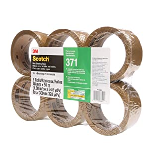 Scotch 371 Industrial-Grade Packing Tape, Tan, 48 mm x 50 m, High Performance Sealing Tape for Medium-Duty Commercial Box and Carton Sealing, Moving, Packaging and Shipping, 6 Pack