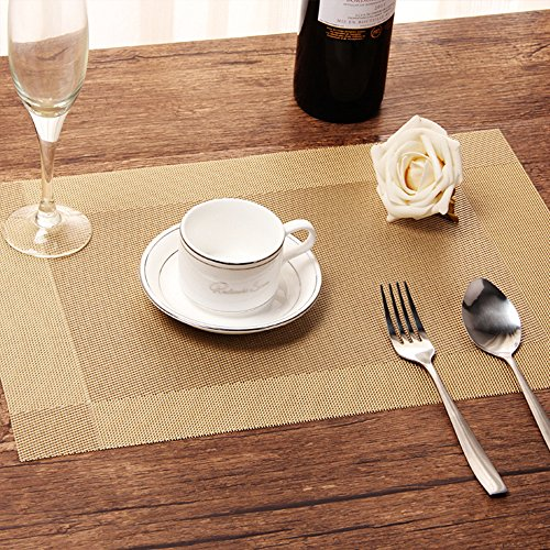 Set of 8 Woven Vinyl Brown and Gold Placemat
