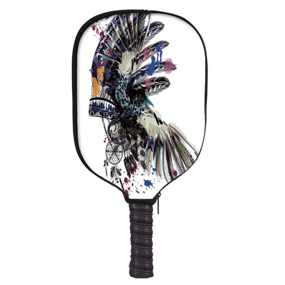 MOOCOM Feather Fashion Racket Cover,Ethnic Boho Fashion Theme Headdress with Colorful Ink Spots Tribe Chief Vintage for Playground,8.3'' W x 11.6'' H