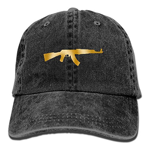 Vintage Cotton Denim Cap Baseball Hat Gold Kalashnikov AK-47 Six-Panel Adjustable Trucker Dad Hat for Adults Unisex (Best Drum Magazine For Ar15)