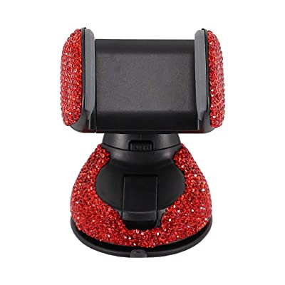Radish Stars Adjustable Strong Sticky Dashboard Car Phone Mount Crystal Rhinestone Phone Holder for Car Red