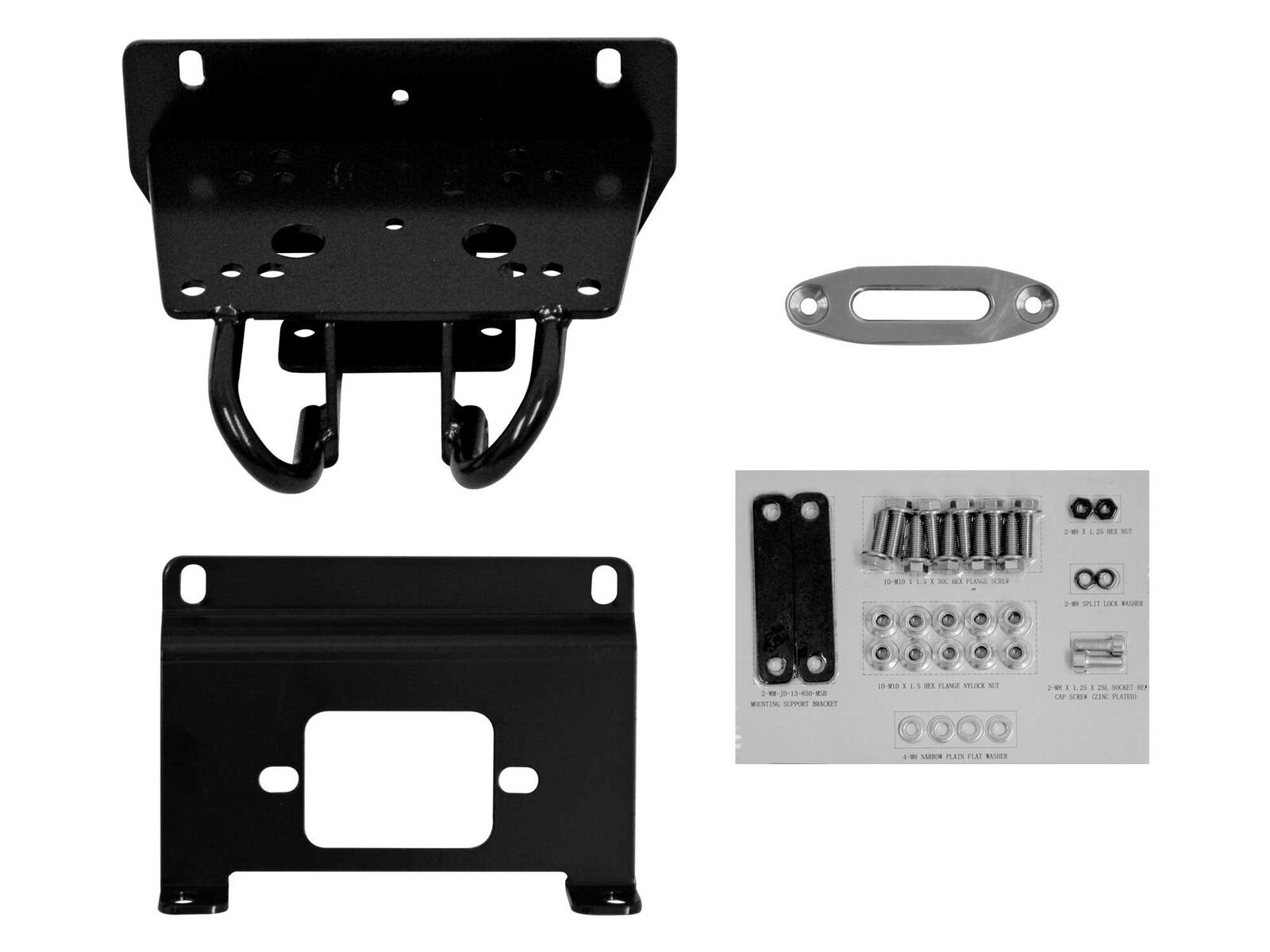 SuperATV John Deere Gator RSX 850 Heavy Duty Winch Mounting Plate For 3500 Lb. Winches (Without Factory Bumper)