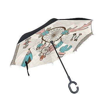 MAILIM Dreamcatcher - Paraguas Reversible con Elementos étnicos (Doble Capa, Mango en Forma de