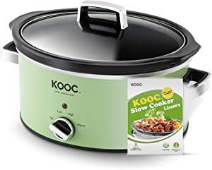 [NEW LAUNCH] KOOC Slow Cooker, 5-Quart, Larger than 4 Quart, Free Liners Included for Easy Clean-up, Upgraded Crock Pot, Adjustable Temp, Nutrient Loss Reduction, Green, Round…
