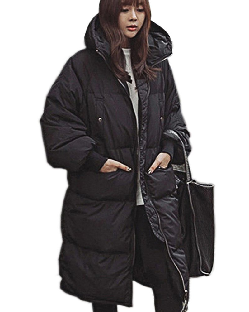 Aofur Women's Plus Size Winter Warm Long Thick Down Hooded Parka Coat Cardigan Zip Jacket Top Fashion Overcoat Outwear (XXX-Large, Black)