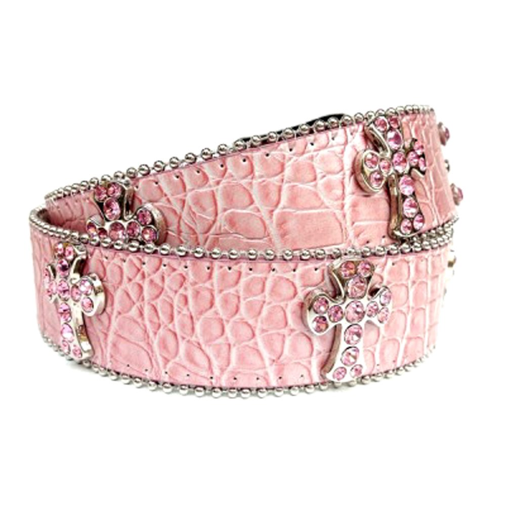 Pink Leather Belt in a Crocodile Pattern, Decorated in Pink Crystals on Silver Crosses, Size S/M by Crazy4Bling (Image #2)