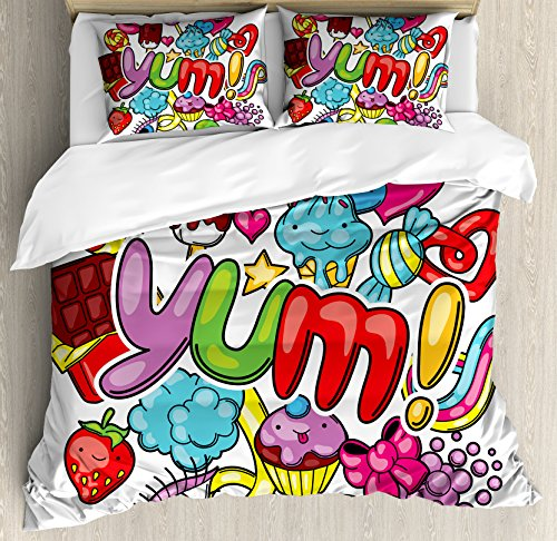 Lunarable Kawaii King Size Duvet Cover Set, Yummy Sweet Food