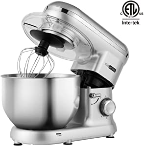 VIVOHOME Stand Mixer, 650W 6 Speed 6 Quart Tilt-Head Kitchen Electric Food Mixer with Beater, Dough Hook and Wire Whip, Silver, ETL Listed