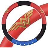 BDK Wonder Woman Steering Wheel Cover - Synthetic Leather - Stars & Gold Logo