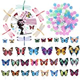 WINOMO Set of Bicycle Decor Bike Bicycle 108pcs Wheel Spoke Beads Luminous Plastic Round Spoke Bead 30pcs Butterflies Clips 6pcs Dragonflies Clips