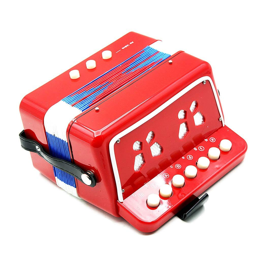 Accordion Mini Size Portable Kids Accordion with Straps 7 Keys 2 Bass Beginners Students Music Accordion Instruments Small Educational Band Musical Toys Children's Gift