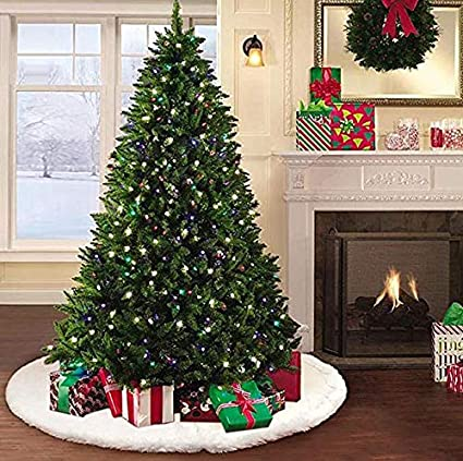 morinostation 48 inches soft white faux fur christmas tree skirt luxury large tree skirt for