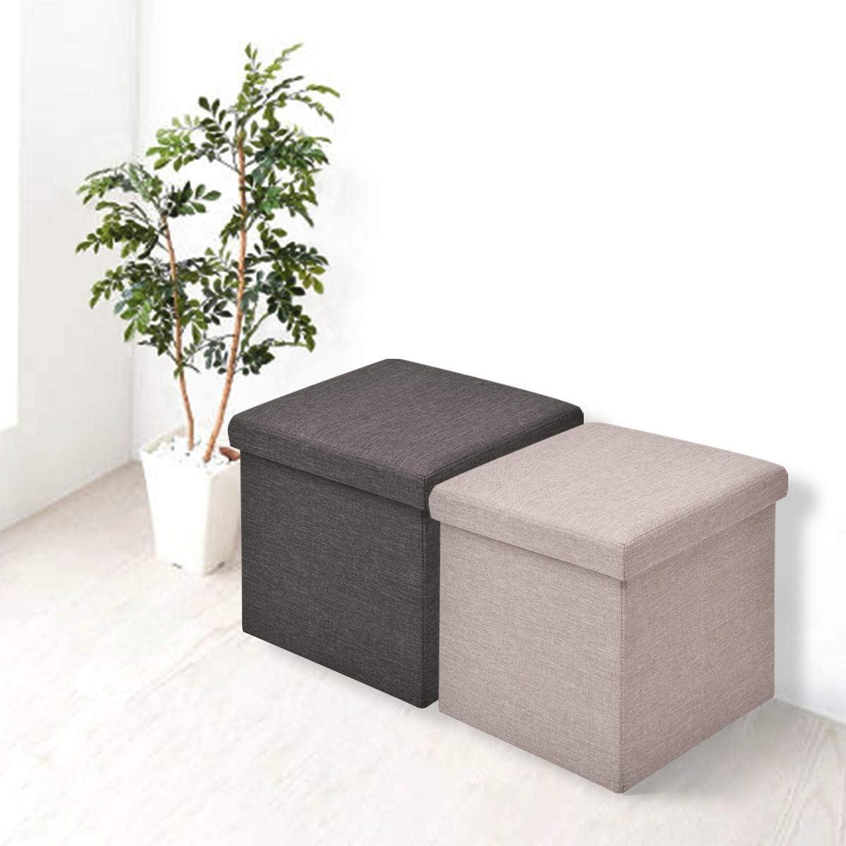 DREAMADE Pouf de Rangement Pliable Multi-Fonction Tabouret Pliant de Stockage Coffre Cube Id/éal pour Table de Caf/é Repose-Pieds en Tissu d/'Oxford et MDF 38 x 38 x 38CM Beige