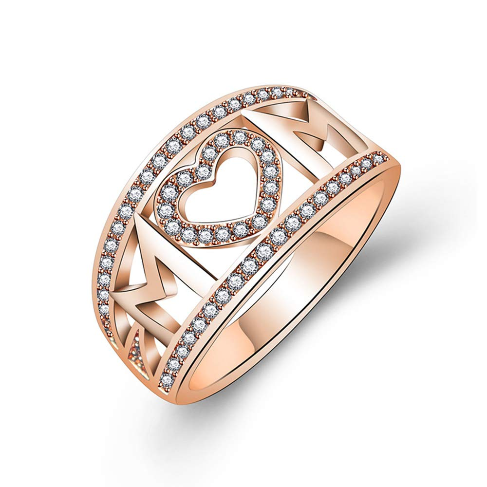 Loweryeah White Gold Plated Zircon Heart Ring MOM Letter Ring (Rose Gold, 6)