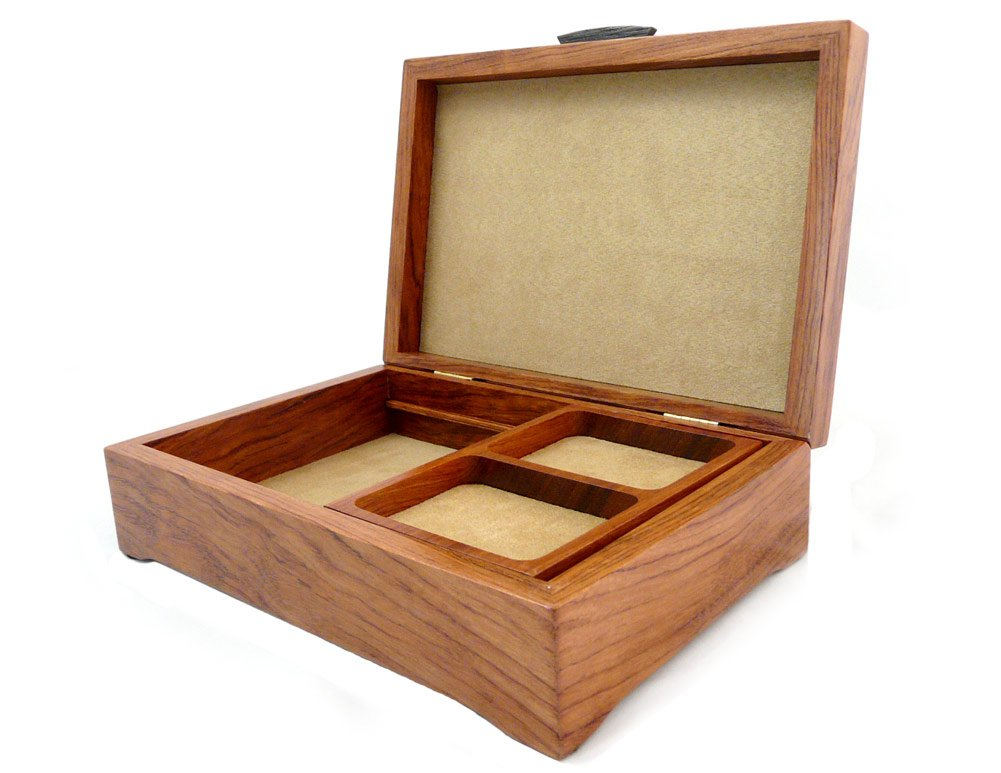 Burl Walnut and Sapele Handcrafted Hardwood Valet Box, 10.5'' x 7.25'' by Modern Artisans (Image #2)