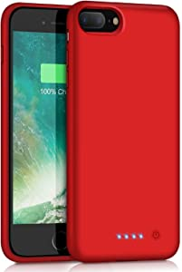 Battery Case for iPhone 7 Plus/ 8 Plus, VOOE 8500mAh Portable Battery Smart Pack Rechargeable Protective Battery Case for iPhone 7 Plus/ 8 Plus External Charger Cover 5.5 inch Charging Case - Red