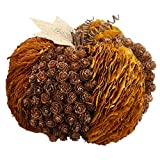 7.85'' Wide Artificial Pinecone & Fall Leaf Pumpkin -Brown/Fall (pack of 6)