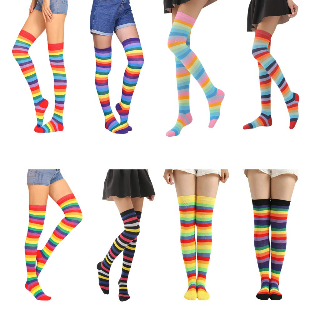 JOYKK Women Girls Fancy Rainbow Colorful Stripes Over Knee Calze Lunghe Costume Cosplay di Halloween Calze Elastiche Coscia lavorate a Maglia 1# Red Rainbow 01