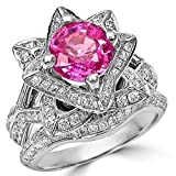 Smjewels 2.37 Ct Round Pink Sapphire Lotus Flower CZ Diamond Ring Bridal Set 14K White Gold Fn