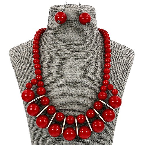 Acrylic Pearl Necklace (Fashion Jewelry Big Simulate Pearl Collar Statement Necklace and Earrings Set For Women (Red))