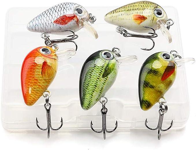 5pcs Mini Wobblers//Crankbait Fishing Lure Artificial Wob V5V7 Bait L0Z1 R0J2
