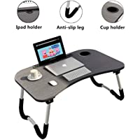 Foldable Laptop Table Tray Portable Lap Desk Notebook Stand with iPad Holder Cup Slot Adjustable for Indoor Outdoor…