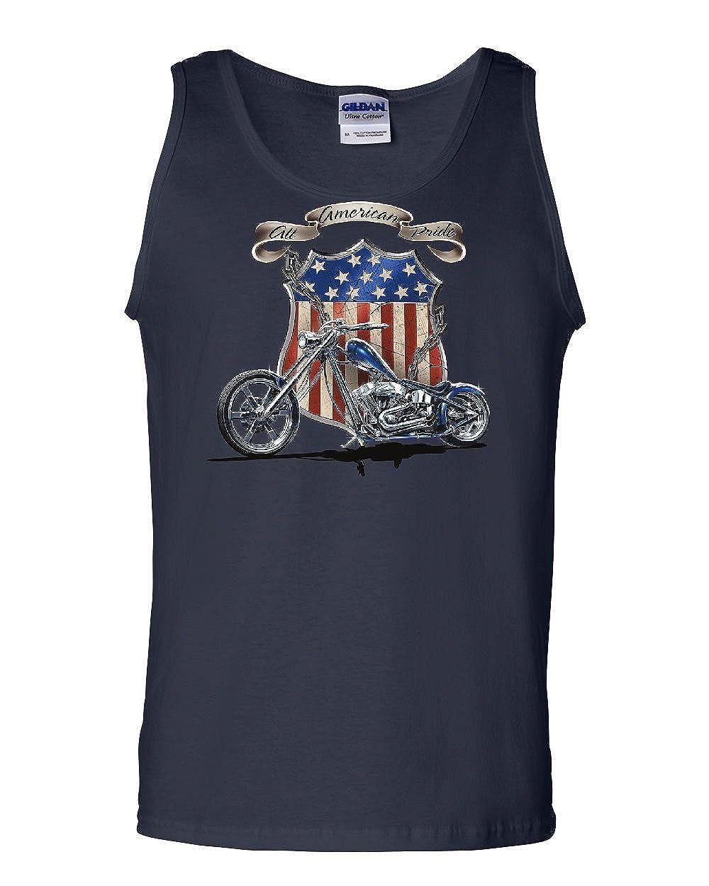 Tee Hunt American Pride Route 66 Tank Top Biker Chopper Ride Die Sleeveless