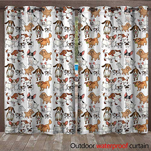 BlountDecor Dog Lover Outdoor Curtain Panel for Patio Cartoon Style Chihuahua Terrier Bulldog and Beagle Funny Characters Purebred PetsW120 x L96 Multicolor