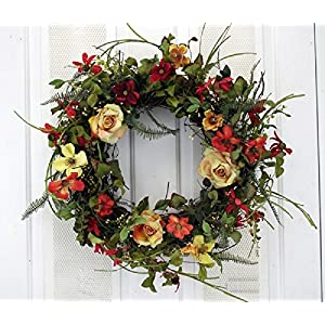 Summer Sunrise Yellow Rose and Orange Red Mixed Flowers Silk Floral Wreath for Front Door Indoor Outdoor Summer Decor 109