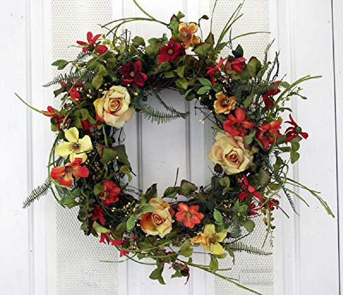 Summer Sunrise Yellow Rose and Orange Red Mixed Flowers Silk Floral Wreath for Front Door Indoor Outdoor Summer Decor -