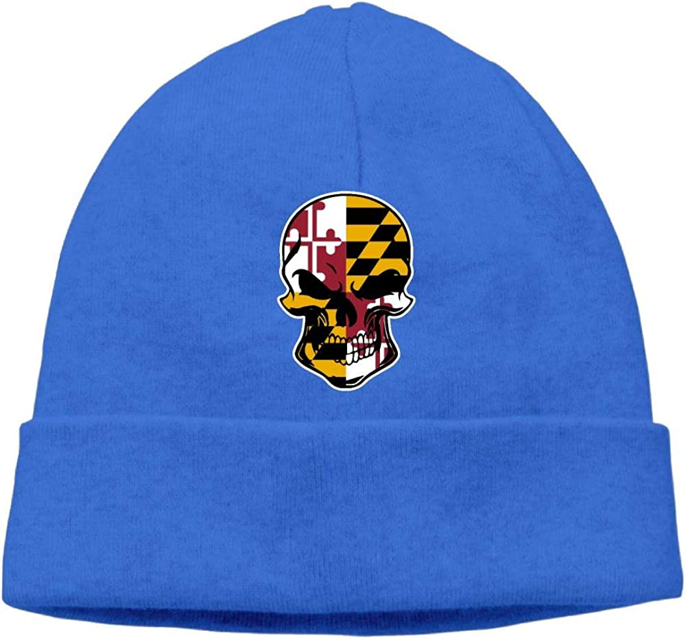 GDSG5/&4 Maryland Flag Skull-1 Men//Women Baggy Surf Beanie Skull Cap