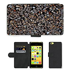 PU Cuir Flip Etui Portefeuille Coque Case Cover véritable Leather Housse Couvrir Couverture Fermeture Magnetique Silicone Support Carte Slots Protection Shell // M00155603 Material de madera blanda, madera // Apple iPhone 5C