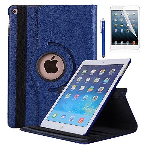 New iPad 9.7 2018 2017 / iPad Air Case - AiSMei Rotating Stand Case Cover with Auto Wake Sleep for Apple iPad 9.7 (6th Gen, 5th Gen) / iPad Air 2013,Bonus Stylus + Film - Dark Blue