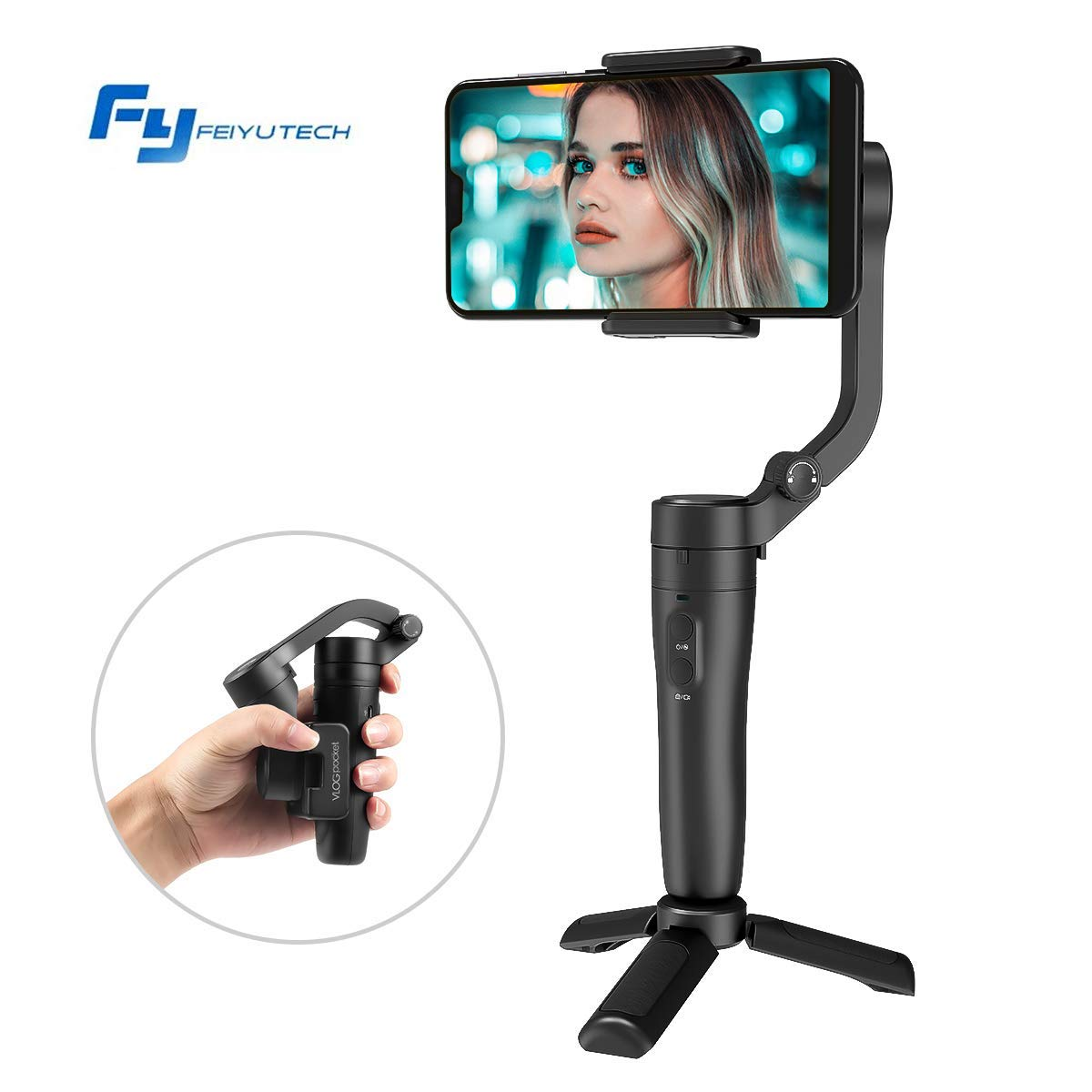 FeiyuTech Vlog Pocket Foldable 3 Axis Smartphone Handheld Gimbal Stabilizer for iPhone 11 Xs Max Xr X 8 Plus 7 6 SE Android Smartphone Samsung Galaxy S9 S8 S7,240 g Payload,-Black S9 S8