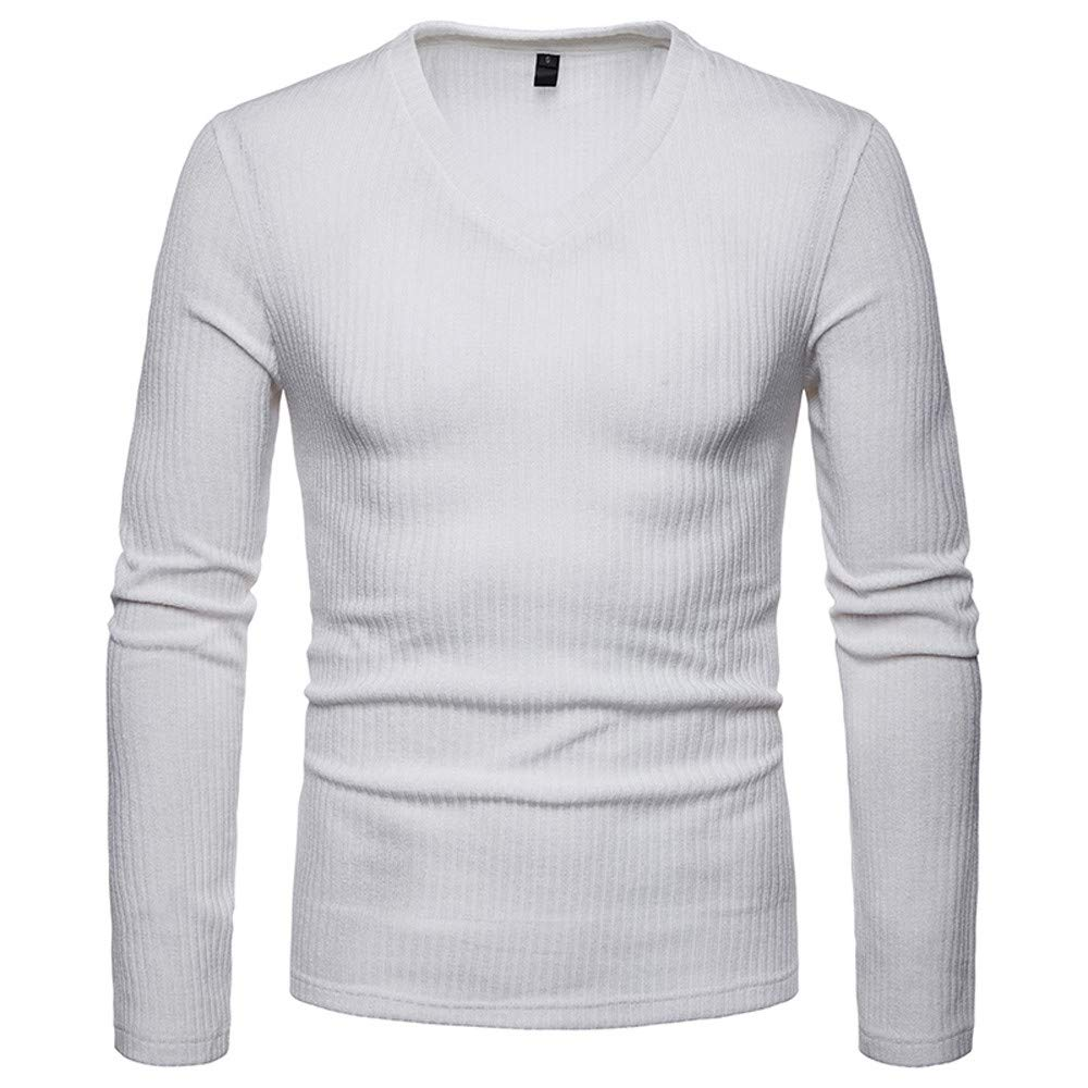 Men's 2018 Casual V-Neck Long Sleeve Pullover Basic Shirt Top Blouse